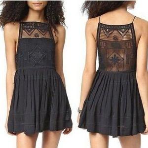 Free People Emily Crochet Mini Dress Black